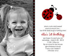 Lady Bug Red - First Birthday Invitations