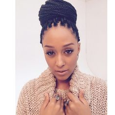 """The wonderful @tiadmowry rocking her box braids in a bun"" Photo taken by @braidsgang on Instagram, pinned via the InstaPin iOS App! http://www.instapinapp.com (11/22/2014)"