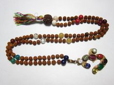 Navaratan Rudraksha Prayer Beads for Meditation, Prayer Mala, Holy Necklace