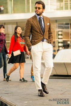 Fabio Atanasio , bespoke outfit : checked jacket , white pants, brown oxfords , tie and shirt