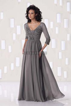 3/4 Length Sleeve Long Column Natural Waist Chiffon V-neck Beading,ruching Evening Dress