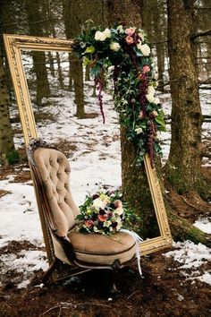 Elegant photo corner, with large frame, vintage chair with out without flowers.