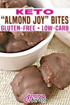 Almond Joy Bites Recipe, Almond Joy Fat Bombs, Low Carb Candy, Keto Candy, Low Carb Cookie, Low Carb Deserts, Low Carb Sweets, Gluten Free Desserts, Gluten Free Recipes