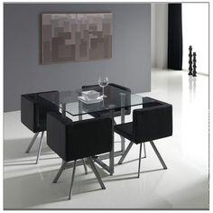 Conjunto de sillas y mesas Mod. Oregon, ocupando poco espacio disponemos de asientos para toda la familia...Además está disponible en colores blanco o negro, para combinar con la decoración contemporanea de nuestro comedor