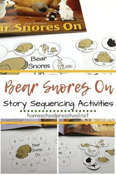 These Bear Snores On sequencing cards are a great way to talk about animals and hibernation. Practice retelling and sequencing the story. Sequencing Cards, Story Sequencing, Sequencing Activities, Kindergarten Activities, Classroom Activities, Activities For Kids, Story Retell, Bears Preschool, Preschool Books