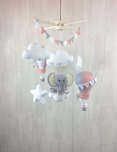 Baby mobile  elephants mobile  hot air by JuniperStreetDesigns