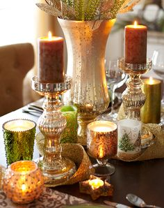 I love the vase and candle holders, but I'd do it with cream colored candles...