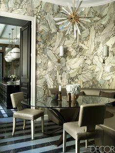 Стены расписаны вручную под мрамор. HOUSE TOUR: An Elegant French Home Worthy Of Royalty
