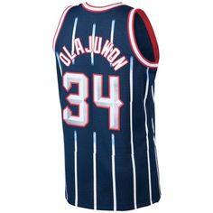 Mitchell & Ness Men's Hakeem Olajuwon Houston Rockets Hardwood Classic... ($130) ❤ liked on Polyvore featuring men's fashion, men's clothing, mens clothing, mens nba jerseys, mens jerseys and men's apparel