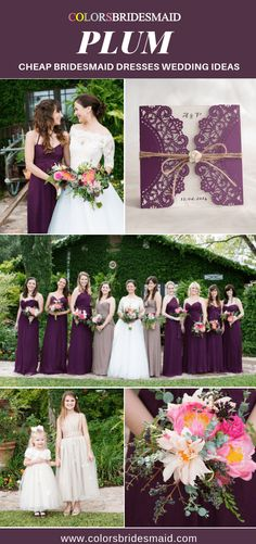 Cheap plum bridesmaid dresses wedding ideas, great with white bridal gown and flower girl dress, brightly-colored bouquets, and wedding invitations in plum and white. Plum Bridesmaid Dresses, Bridesmaid Flowers, Bridesmaids, Wedding Dresses, Plum Wedding, Wedding Colors, Dream Wedding, Wedding Reception Backdrop, Wedding Decor