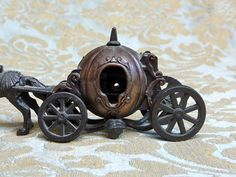 Charming Vintage 1960's Miniature Bronze plated die cast metal horse drawn fairy tale pumpkin carriage with spinning wheels and hidden working pencil sharpener. #Cinderella $60 #desk