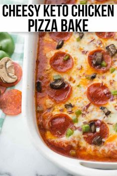 This low carb chicken pizza bake is a delicious keto casserole recipe your whole family will love! Made with chicken breasts, mozzarella cheese, tomato sauce, and pepperoni! / keto recipes / low carb recipes / keto casseroles / low carb casseroles #keto #lowcarb Low Carb Marinara, Homemade Marinara, Homemade Sauce, Chicken Pizza Recipes, Keto Chicken, Baked Chicken, Chicken Club, Chicken Meals, Recipe Chicken