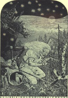 "Headline: ""Ask Baba Yaga: All I Want Is So Desperately to Be Good"" (Friday, August 23, 2013) Image credit: Baba Yaga Bookplate by Ukranian printmaker Konstantin Kalinovich ♛ Once Upon A Blog... fairy tale news ♛"