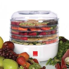 Dry your own fruit, vegetables, herbs, seasonings, jerky, and even granola with the Ronco 5-Tray Food Dehydrator (FD1005WHGEN). This professional dehydrator's durable FDA approved trays, electrical heating coils and convection air flow system make it one of Ronco's most popular appliances.