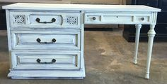 """Here is a perfect sized desk for the pre-teen you have in your house. They might actually want to do their homework if they had this desk! LOL  The dimensions are 59"""" L, 20"""" W, 31"""" H. SOLD!! for $275 https://www.pinterest.com/shabbychictexas/my-shabby-chic-desks/"""