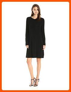 Norma Kamali Women's Long Sleeve Crew Dress to Knee, Black, L - All about women (*Amazon Partner-Link)