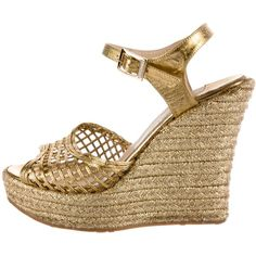 Pre-owned Jimmy Choo Leather Wedge Sandals ($225) ❤ liked on Polyvore featuring shoes, sandals, gold, pre owned shoes, jimmy choo, gold metallic wedge sandals, jimmy choo sandals and gold metallic wedge shoes