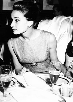 Audrey Hepburn in a sheath dress with empire waist, The Simply Luxurious Life