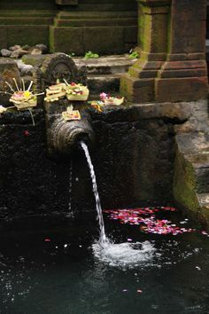 Holy water at the Tirta Empul temple, Bali