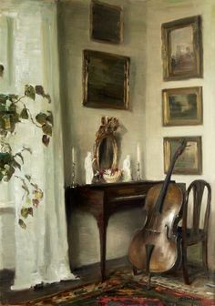 Interior with Cello - Carl Vilhelm Holsøe