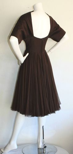 Rare 1950 Galanos Dress Sexy Open Back Chocolate Brown Silk image 9