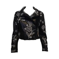 Dolce & Gabbana Black Leather Jacket with Silver Beading