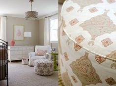 relaxed, feminine nursery.  greige + pink + white   finnian's moon interiors