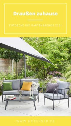 Getreu dem Motto: #draußenzuhause stellen wir euch nützliche Tipps, inspirierende Ideen, leckere Rezepte und schöne DIY's vor.   Garten Balkon einrichten Trends 2021 Outdoor Draußenzimmer Outdoorwohnzimmer Gartenmöbel Balkonmöbel Terrasse Gardening Garden Gartentrends Garteninspiration Dekoideen Idee Design dekorieren Sommer Möbel Outdoormöbel modern balcony Outdoor Sofa, Outdoor Furniture, Outdoor Decor, Gardening, Motto, Inspiration, Modern, Trends, Design