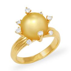 South Sea Golden Pearl Ring with Diamonds in 14K Yellow Gold (10-11mm)