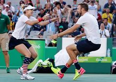 Bethanie Mattek-Sands ran into the arms of partner Jack Sock after they won their mixed doubles gold medal match against Venus Williams and Rajeev Ram on Sunday at the 2016 Summer Olympics in Rio de Janeiro, Brazil.  He graduated with my son, and he's a great guy!