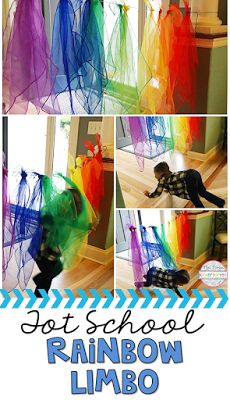 Get moving with the rainbow scarf limbo gross motor game. Perfect for tot school, preschool, or the kindergarten classroom.