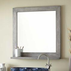"30"" Liani Teak Vanity Mirror - Gray Wash"