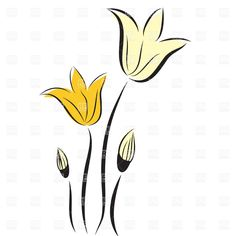 tulip outline clip art | Hand drawn tulips, download royalty-free vector clipart (EPS)