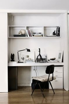 Turn un-used closet into a work/study area