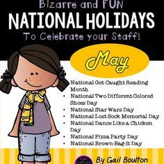 Bizarre and FUN National Holidays to Celebrate your Staff (MAY BUNDLE) Unusual Holidays, Holidays In May, Wacky Holidays, School Holidays, National Star Wars Day, National Days, National Holidays, Holiday Calendar, Calendar Ideas