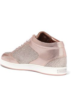 pretty nice 0b361 2d50e Jimmy Choo - Miami Glittered Mesh And Embossed Leather Sneakers - Pink