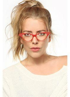 Nancy 2 Rhinestone Solid Frame Cat Eye Clear Glasses