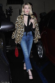 Chic: The Scream Queens star threw a leopard coat over her shoulders to ward off the chilly LA weather