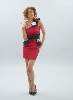 One shoulder corsage peplum dress,  Dress, One shoulder corsage peplum dress, Chic