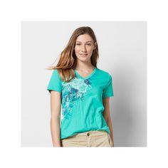 Women's Graphic V-Neck Tee, Size: Medium, Turquoise/Blue (Turq/Aqua)