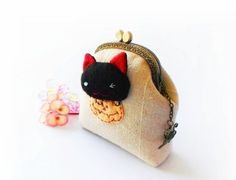 Coin purse  Cat coin purse Halloween coin purse Metal by DooDesign, $26.90