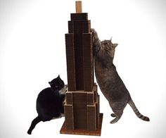 A scratching post that's shaped like city skylines is one of the great creations for stylish homes. Made with recycled cardboard and bamboo.