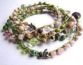 "Crochet wrap bracelet, boho necklace, beaded, ""petals and leaves"", olive, pink, bohemian jewelry, crochet jewelry, boho wedding"