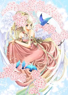 Cherry tree angel with long blond hair, blue eyes, pink strapless dress, white feather wings, sakura flowers,  birds by manga artist Shiitake.