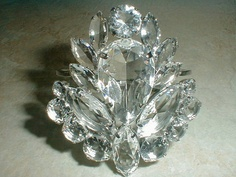 gorgeous vintage silver plated clear faceted by fadedglitter42263, $185.00