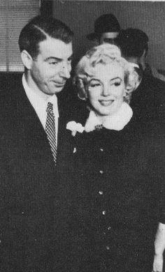 Marilyn Monroe and Joe DiMaggio photographed on their wedding day at San Francisco City Hall, January 14th 1954.