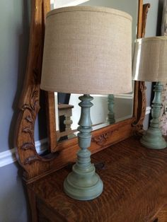 Old brass & wood lamps painted with chalk paint - A Junkchick Life