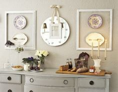 Plates with silverware glued to center then enclosed on wall with wooden frame .. Love this idea