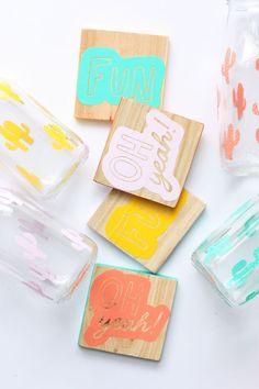 DIY Graphic Milk Bottles + Coasters w/Silhouette CAMEO