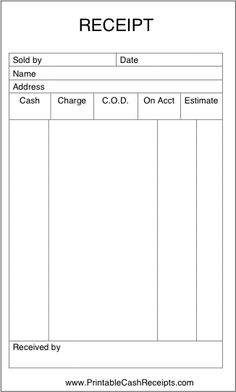A sales receipt form from a collection of free business templates ...